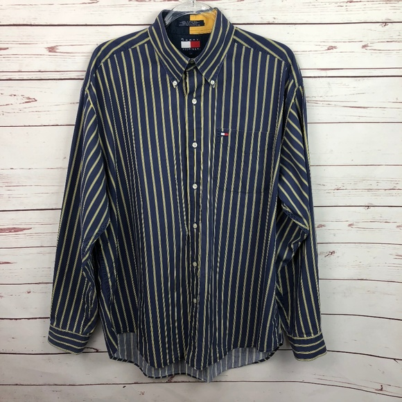 New Men Tommy Hilfiger Long Sleeve Dress Shirt Button Down Top Striped Pocket L